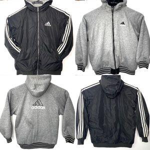 Vintage Adidas Hoodie Jacket Reversible Black/Gray